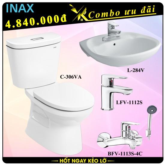 bon cau 2 khoi inax c-306va tang lavabo l284v voi lavabo lfv-1112s voi sen bfv-1113s gia re tai viet khang