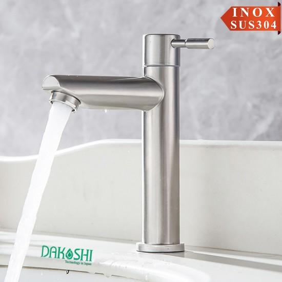 Vòi chậu rửa mặt lavabo inox lạnh Dakoshi I402